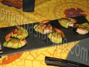 crevettes roulées aux courgettes