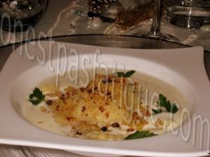 ravioles st jacques sauce vin blanc crumble appenzeller