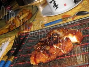 filets poulet aux oignons sautés et sauce japonaise