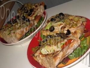 tartine rustique aux legumes et 2 fromages et salade gourmande