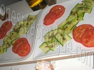 tartare courgette tomates et tartine chevre grille mielle_etape 7