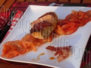 tartare tout tomates courgette et tartine chorizo grille