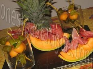 brochettes melon et poivron marine