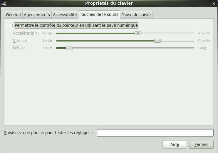Ecran de propriétés du clavier sous Linux